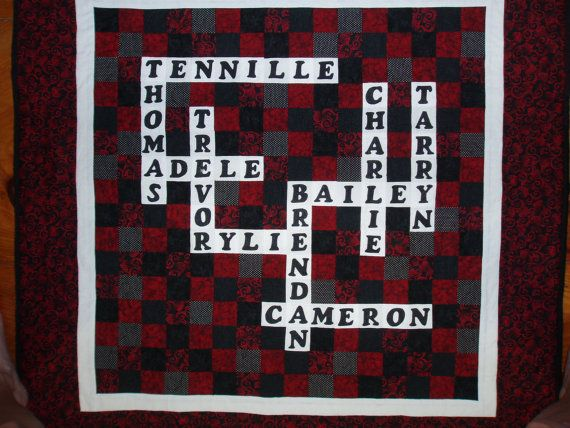 Scrabble Crossword Puzzle Personalized Quilt With Family