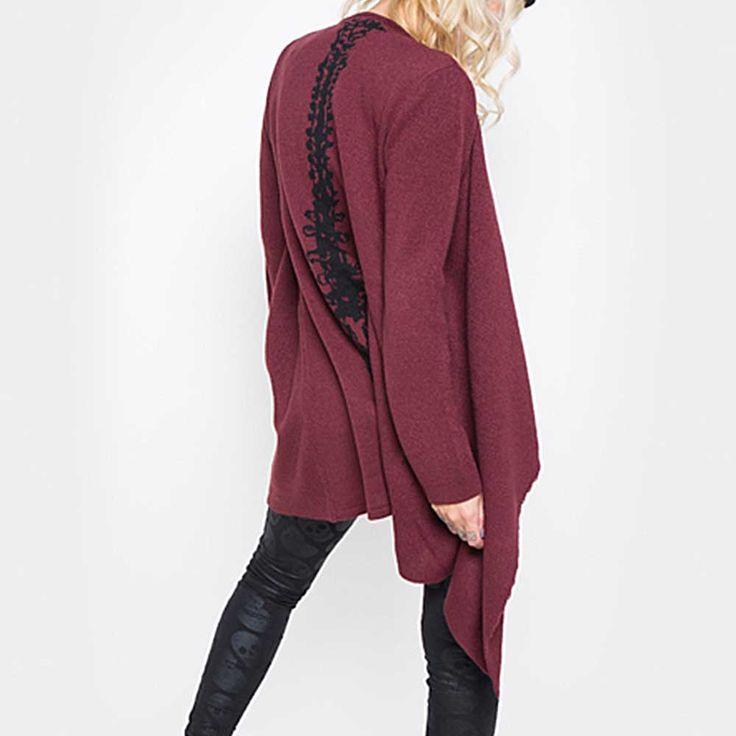 Spineless cardigan vest met ruggengraat print bordeaux rood