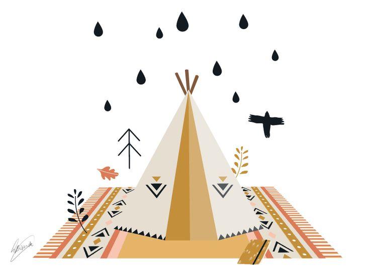 Let's go camping!#adventure #tent # bird #illustration #everywhereyougo #larabispinck # rain # rainyday #pattern #carpet #pastell #vector #indian #aztec #aztecpattern #holidays