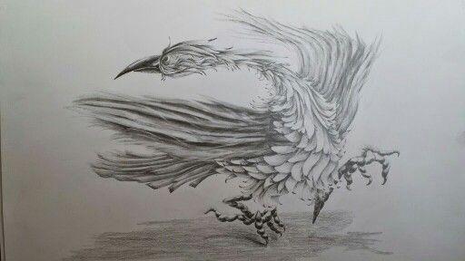 Птица рисунок карандаш