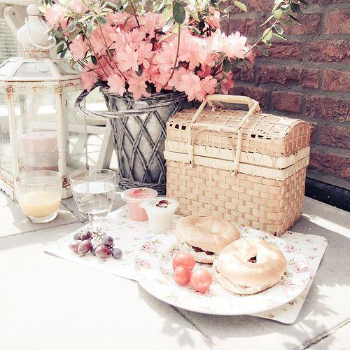 picknick, pink, flowers,basket,