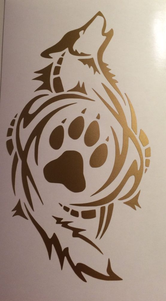 TrIbal Wolf Paw Print  Decal VINYL STICKER Funny WINDOW CAR Gold #ORACAL