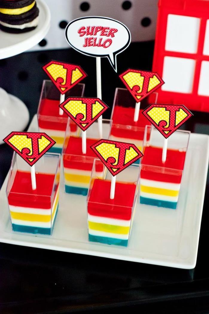 Rainbow jello at a Superhero Party on a Budget via Kara's Party Ideas   Kara'sPartyIdeas.com