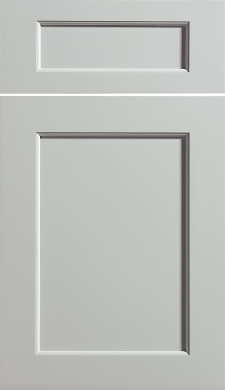 Dura Supreme Cabinetry Highland cabinet door style shown in Paintable wood with Silver Mist paint finish.