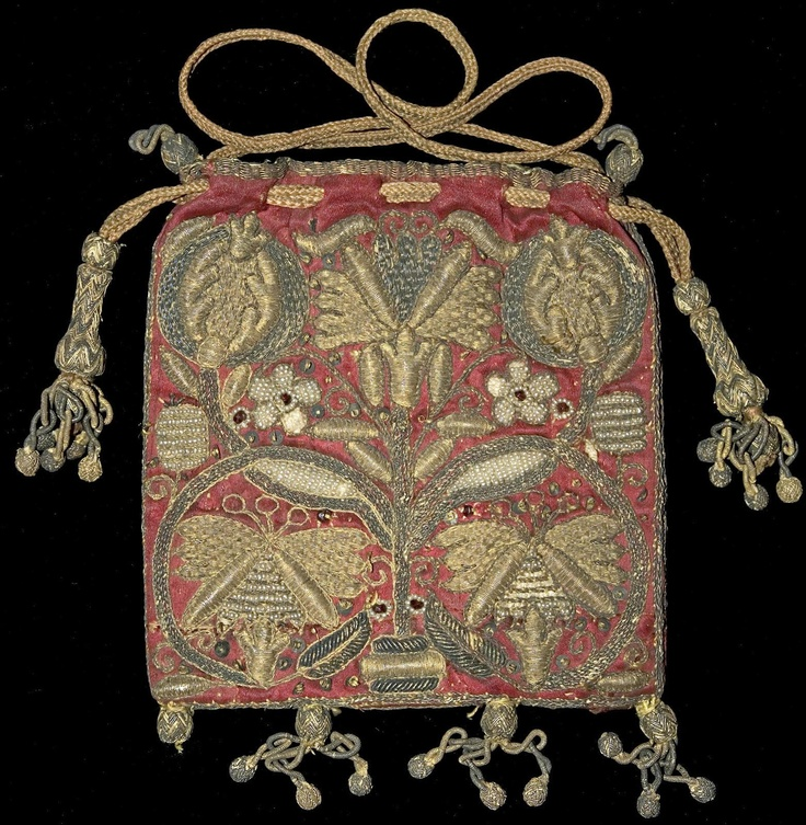 "Elizabethan Purse. ""Embroidered with Goldwork, Seed Pearls, Sequins and Carnelians  England, End 16th Century  5.5ins width x 5.5ins height  0.14m x 0.14m"""