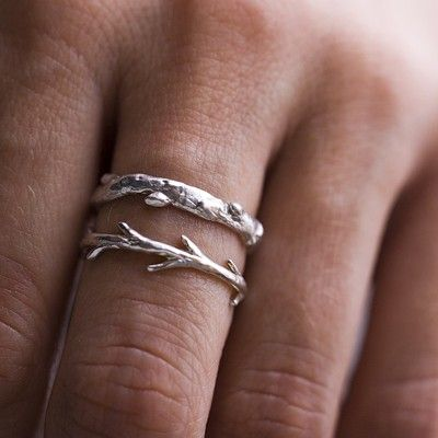 Silver Branch Twig set. $80,00, via Etsy.: Wedding Ring, Rings Sets, Branches Rings, Sterling Silver, Stacking Rings, Branches Twig, Twig Rings, Silver Rings, Silver Branches