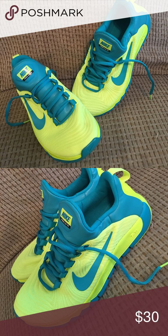 Mens Nike free 5.0 Neon yellow and turquoise Nike free 5.0. Perfect condition!! Never worn Nike Shoes Sneakers
