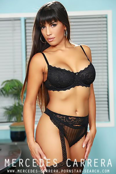 Busty Porn Star Mecedes Carrera posing in hot black ...