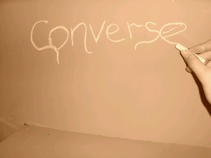 Me writing on my chalk board door!