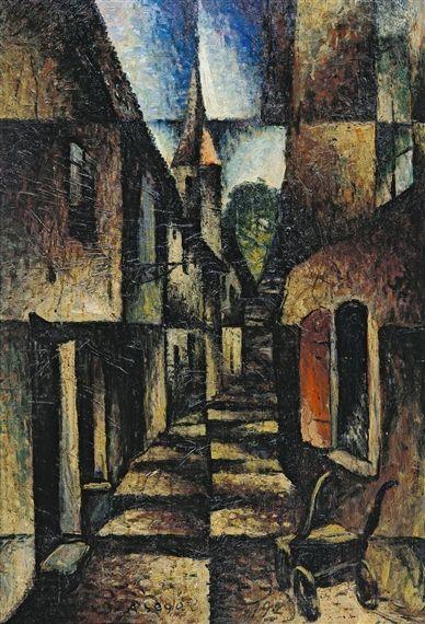 Street with church, 1924 Arthur Segal