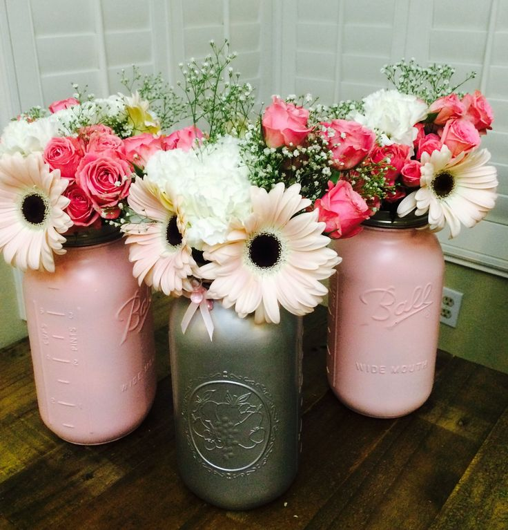 Centerpieces for my pink and gray baby shower mason jar