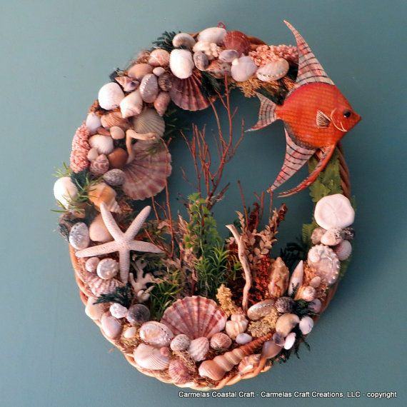 Oval beach wreath with sea shells and by CarmelasCoastalCraft