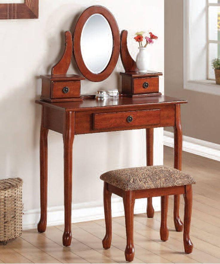 Jonas Cherry Fabric Wood Glass Vanity Set