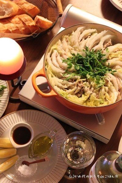 白菜と豚のミルフィーユ鍋 塩のシンプル調理 by かめ代さん   レシピ ...