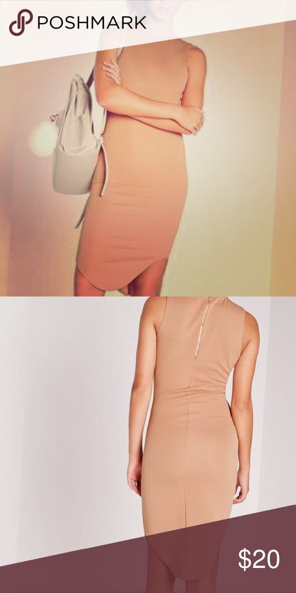 High neck curve hem ribbed midi bodycon dress Figure flattering bodycon dress in Camel Missguided Dresses Midi