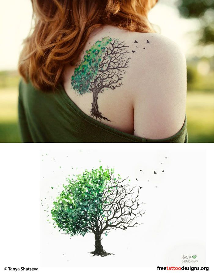 Colors for my trees on my upper arm tattoo also the idea of birds coming from the tree