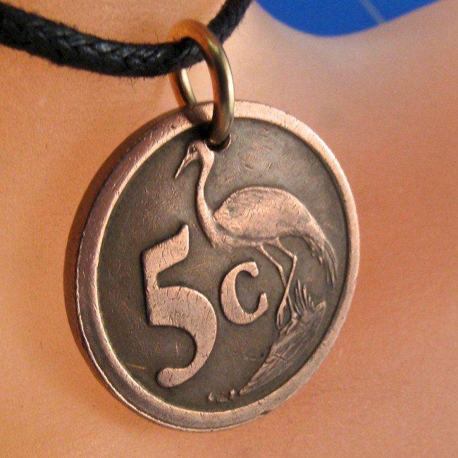 BIRD coin NECKLACE jewelry South Africa pendant. blue crane .Saud Afrika. emblem. crest. Choose Year  No.001193