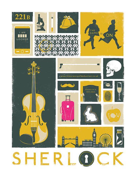 Sherlock Poster Art Modern Design Print por jefflangevin en Etsy
