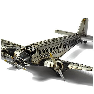 German JU-52 military transport aircraft alloy model