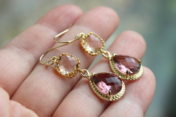 Blush Champagne Eggplant Earrings Gold Purple Earrings by laalee