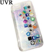 Icono del software UVR 3D Lindo Brillo Líquido Dinámico Quicksand Oro Plata caso Coque Cacasa Funda para el iphone 6 s 7 Más Suave cubierta(China)