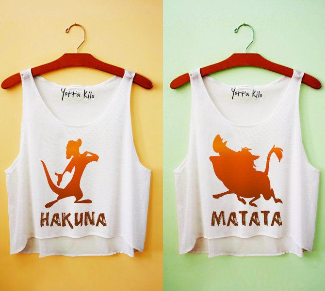 Hakuna Matata. Crop tops. Retro