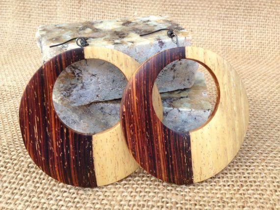 Cocobolo large wood hoop earrings