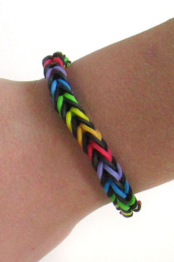 Rainbow Loom Bracelet Black With Rainbow Fishtail Rubber Band Bracelet