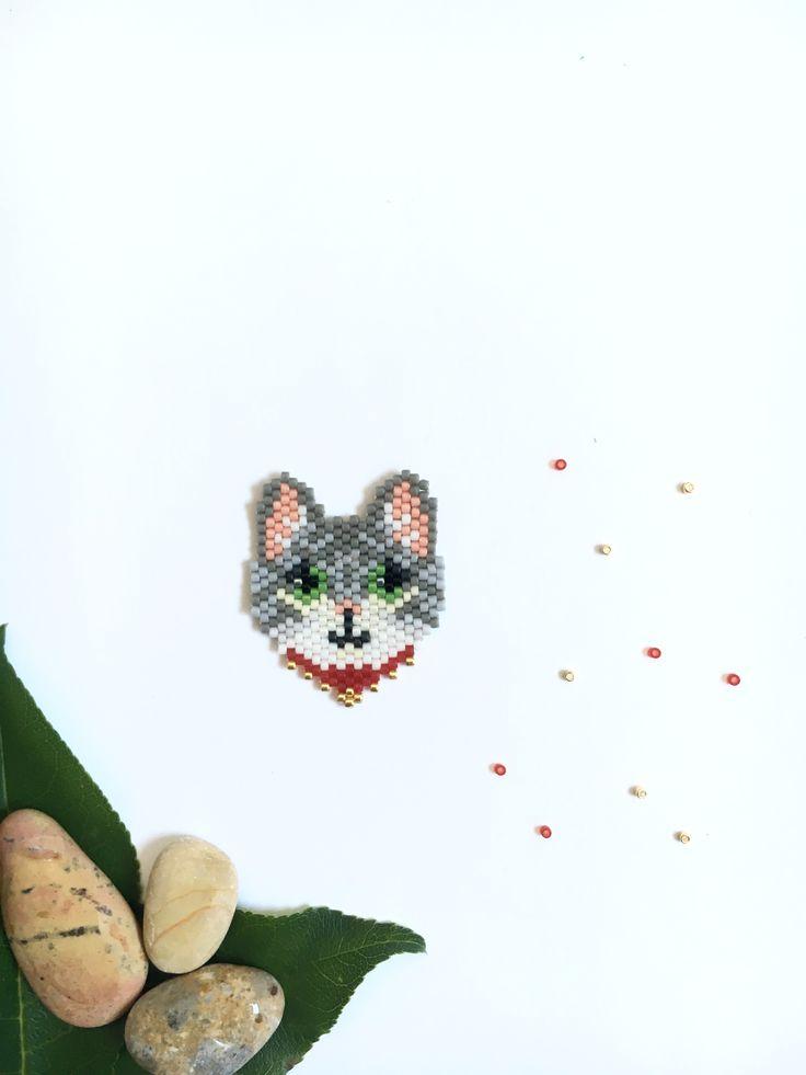 Кот из бисера мозаичное плетение Miyuki, бисероплетение