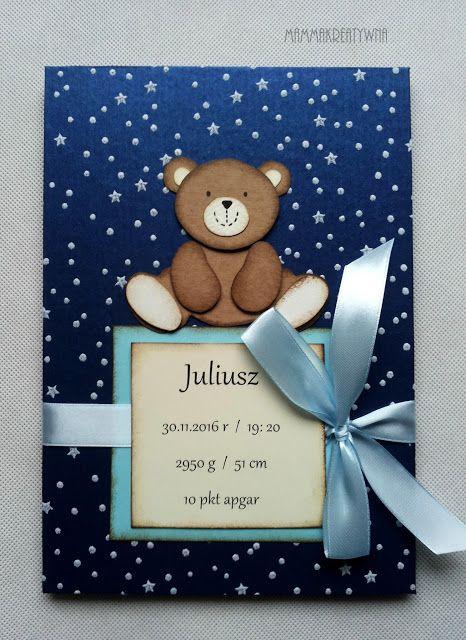 Ręcznie robiony albumu do zdjęć z sesji dziecięcej. Metryczka dla noworodka ze słodkim misiem. Handmade photo album for babys and newborns. With sweet teddybear.