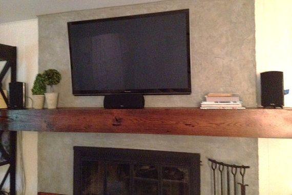 Great Room Fireplace Mantel Custom Sizes Floating Barn Wood Box Beam Wall Shelf Rustic
