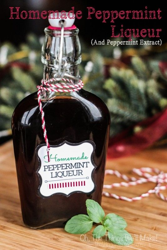 How to make a naturally flavored homemade peppermint liqueur using fresh mint leaves, perfect for holiday gift giving; with printable label.