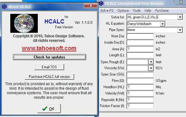 HCALC by Tahoe Design Software - HCALC solves for head loss, diameter, flow, pipe area, velocity, Reynolds number and friction factor using the Darcy-Weisbach, Hazen-Williams or Manning's equations. - #diameter #flow #velocity #pipe #civilengineering
