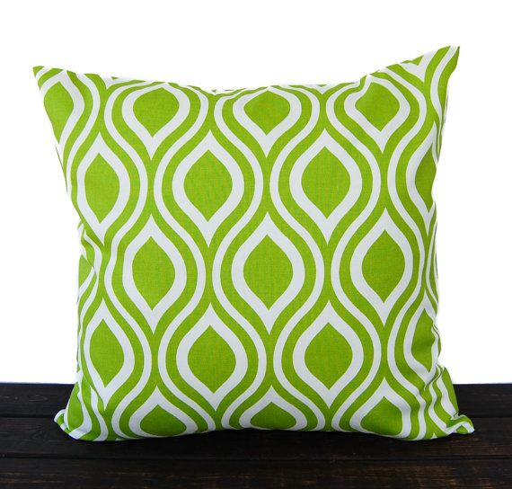 Items similar to Throw pillow cover chartreuse lime green cushion cover  pillow sham Nicole print on Etsy
