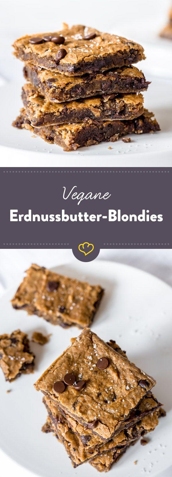 Aus Kichererbsen machst du nur Falafel oder Hummus? Whaaat?!? Kichererbsen machen sich auch perfekt im Kuchen - mit Erdnussbutter und Schokoladensplitter.