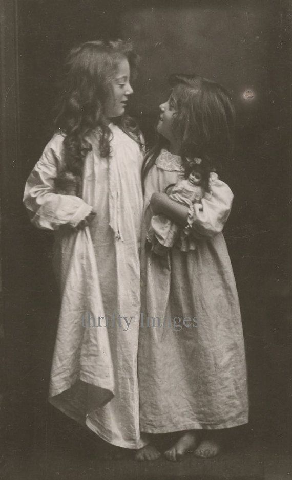 Antique Vintage Digital Image of Sisters and Doll on Etsy, $1.61