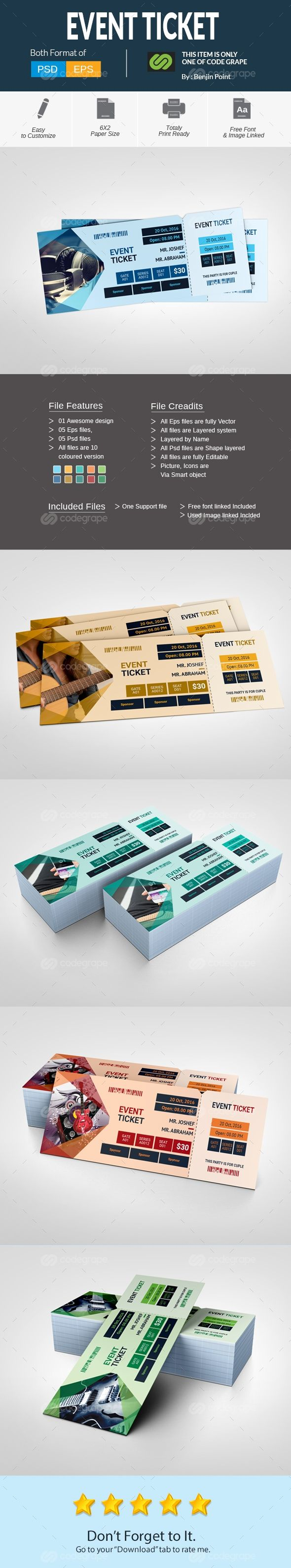 business event invitation templates%0A Event Ticket on  codegrape  More Info  https   www codegrape