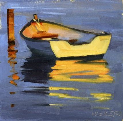 "Daily Paintworks - ""Skiff at sunset oil painting"" - Original Fine Art for Sale - © Kathy Weber"