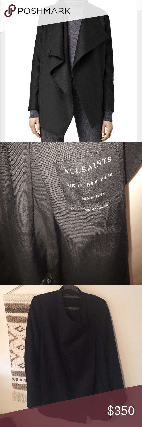 All saints sold out Ora Jacket USA size 8. New without tags! I bought it and realized I already have the same jacket! Thought this one was longer! Never worn new. Black very fine wool. Stunning in any shape! All Saints Jackets & Coats