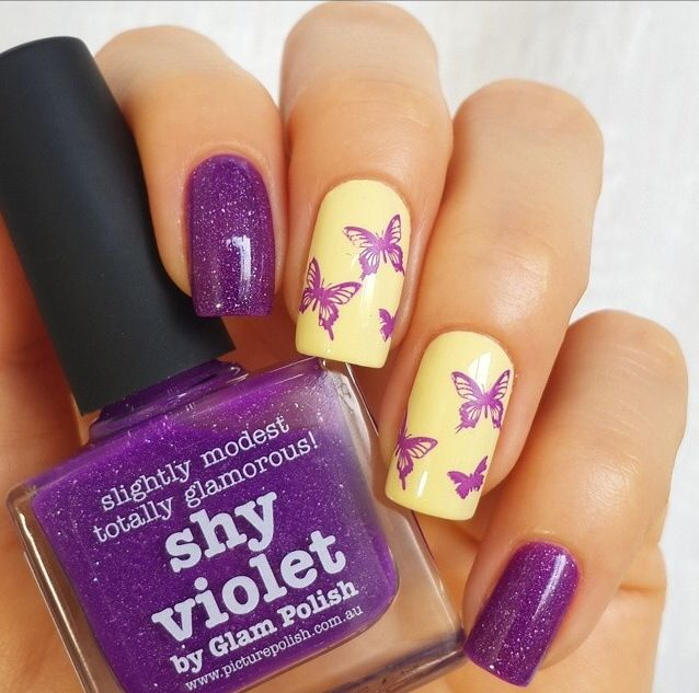 piCture pOlish 'Shy Violet & Mellow Yellow' butterfly nails by Solo Nails!  Shop on-line: www.picturepolish.com.au