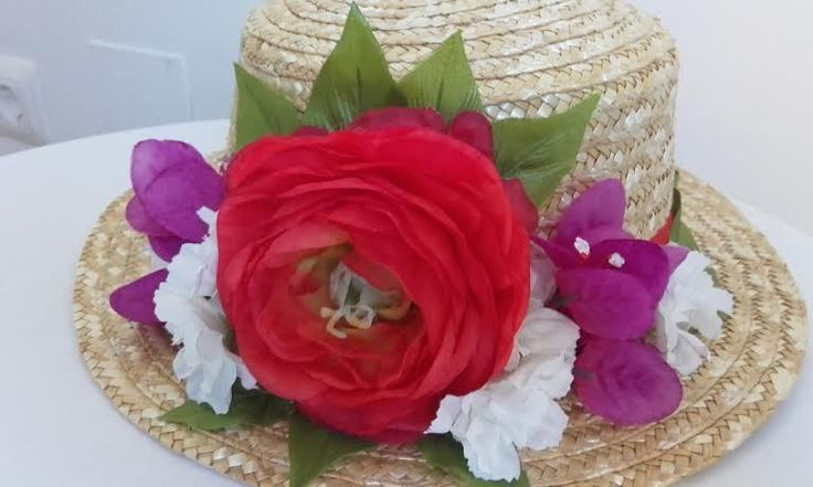 Valentino icon of Canotier Hat Runway Summer Party Wedding Red White Flowers #Handmade…