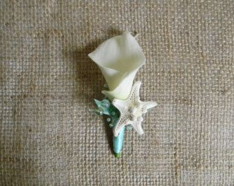 Starfish Boutonniere Seashell Boutonnieres by AdariaHomeAccents