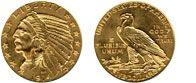 Stati Uniti D'America - Dollari d'oro $ 5.00 Half Eagle, Indian Head Type, 1908-1929 Peso: 8.3592 g (0.26875 ozt) Titolo: 900 (21.6 kt) Diametro: 21 mm Oro contenuto: 7.5233 g (0.2419 ozt)