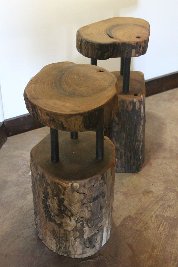 Handcrafted & Reclaimed Solid Wood Slab Side Table // PandA Creations