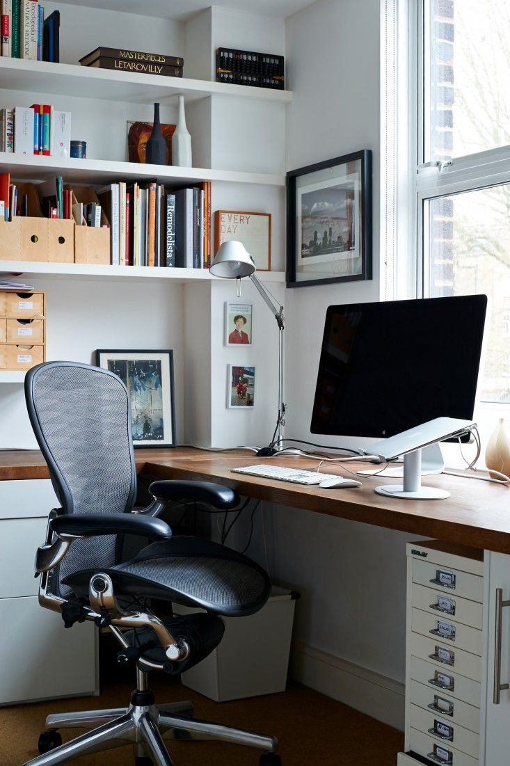 My husband and I designed our home office in our small London townhouse for two people–I would be the permanent fixture and another member of the family (m