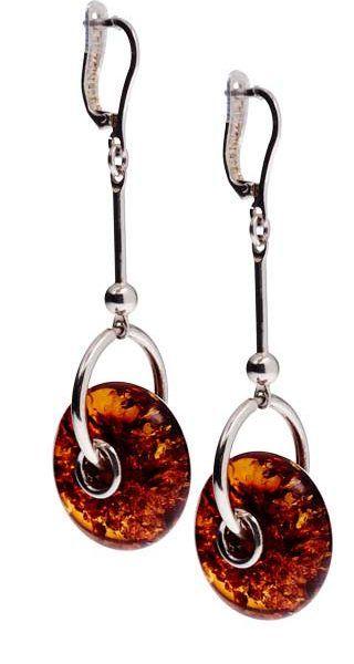 "AMBER WHEEL EARRINGS Amber Wheel Earrings Sterling silver, length 2-3/8"", width 5/8"" (6 x 1.6 cm) Riga, Latvia"