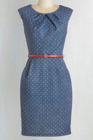 Vintage Round Neck Sleeveless Polka Dot Slimming Women's Dress Vintage Dresses | RoseGal.com Mobile