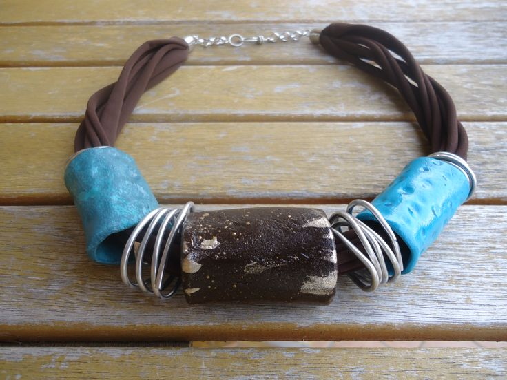 handmade clay tubes necklace....