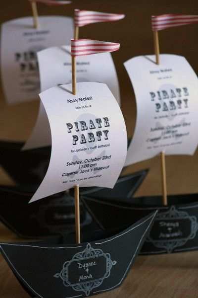 Fantastic pirate party invitations- I wouldnt make these as invites but they would make awesome place settings or would be cool little things to send with goodie bags