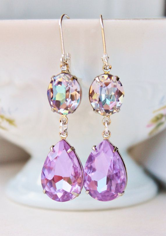 RARE Swarovski Purple Rainbow Earrings,Vitrail Light Earrings,Cocktail,Pastel,Silver Leverback,Rhinestone Bridesmaids Earrings,Lavender